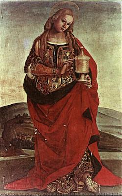 девушка в красном с чашей