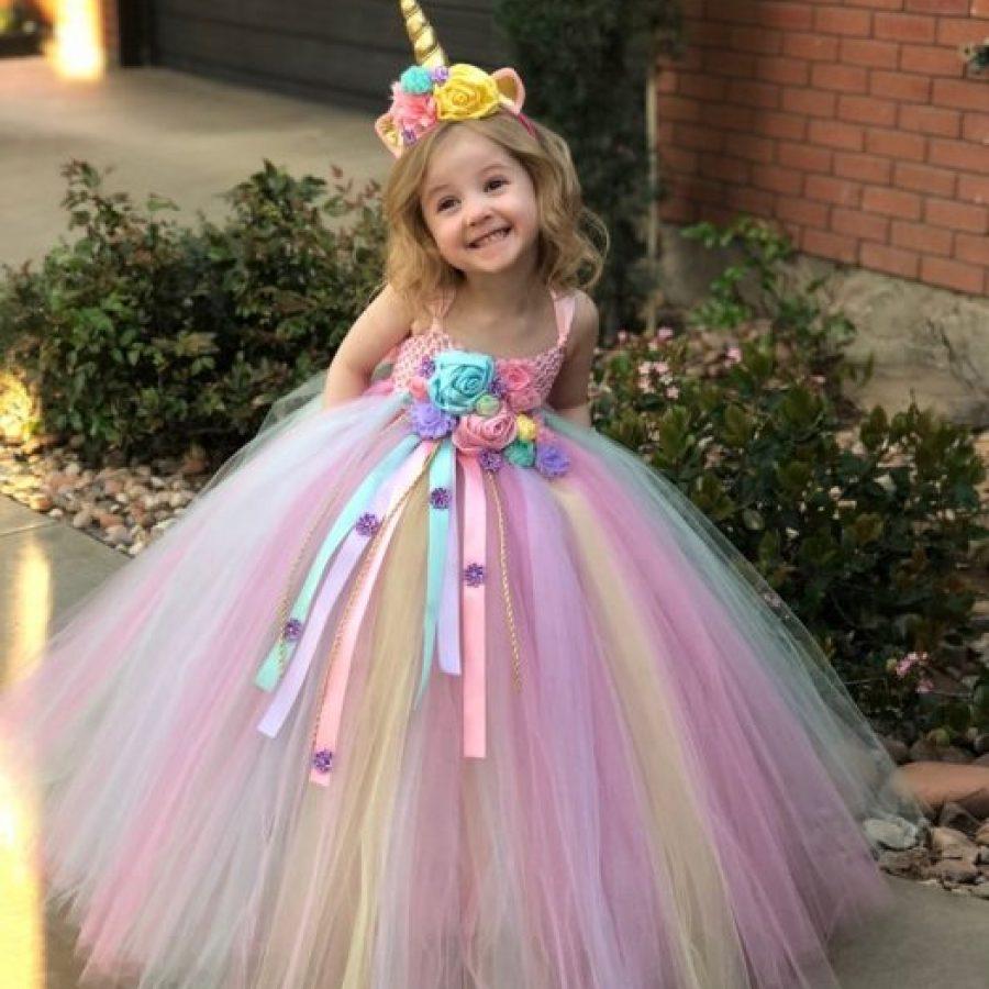 длинное платье единорог красивое праздничное детское